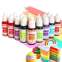 12 Colors 10ml Food Coloring Macaron Ice Cream Edible Pigment Cupcake Cake Fondant Food Dyes Baking Pastry Tool Safe