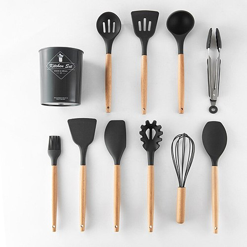 1/12PCS Silicone Cooking Utensils Set Non-stick Spatula Shovel Wooden Handle Cooking Tools Set With Storage Box Kitchen Tools
