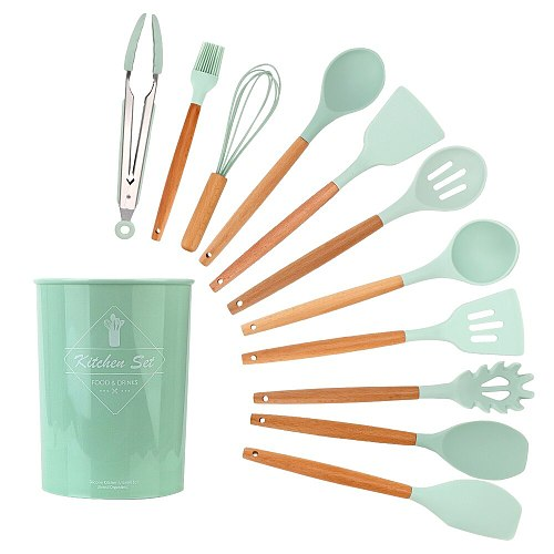 12Pcs/set Silicone Kitchen Utensil Set Kitchen Tools Kitchenware Set Cooking Tools Wooden Handle Household Accessories