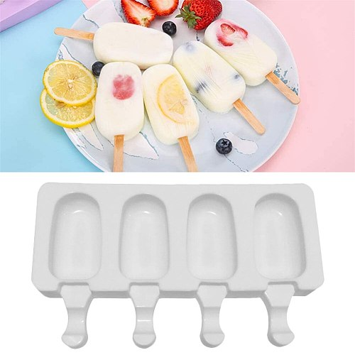 Silicone Ice Cream Mould Set Ice Cube Tray Popsicle Barrel DIY Mold Dessert Ice Cream Mold with Popsicle Stick