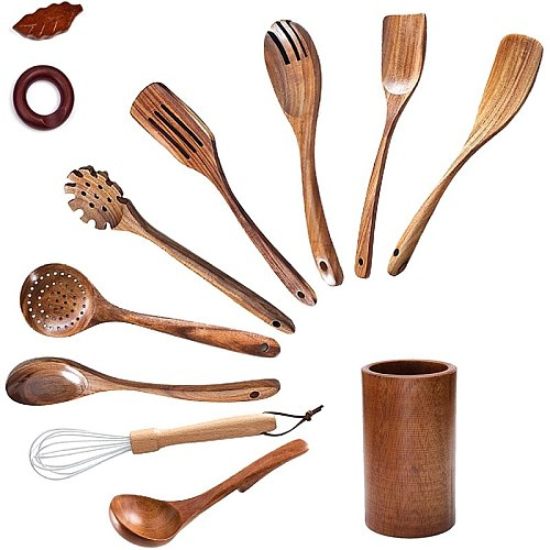 Wooden Spoons for Cooking,Wooden Cooking Utensils Set with Wood Holder,Non-Stick Pan Kitchen Tool Wooden Cooking Spoon