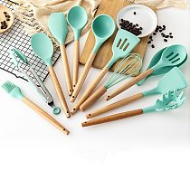 3 Colors 1PC Silicone Wood Turner Soup Spoon Spatula Brush Scraper Pasta Server Egg Beater Kitchen Cooking Tools Kitchenware