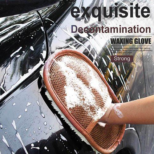 Car Wash Clean Sponge Brush Glass Cleaner Blue Wave Car Wash Glove Cloths Brushes Accessories Detailing microfiber 2020 #YL1