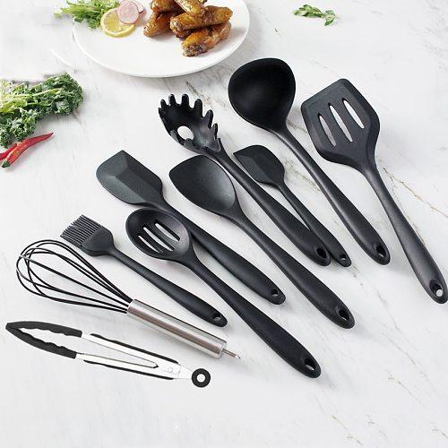 Black Silicone Cooking Utensils Set Non-Stick Pan Baking Tools Kitchenware Slotted Turner Spatula Spoon Food Tongs Kitchen Kit