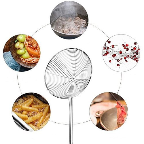 Spider Strainer Skimmer Ladle Stainless Steel Metal Frying Basket with Long Handle Large Spoon