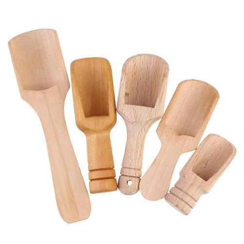 5pcs Wooden Handle Small Salt Shovel Scoop Teaspoon Ground Milk Powder Coffee Scoops Condiment Spoon