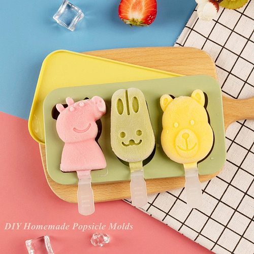 Kitchen Tools Ice Cube Cartoon Reusable Popsicle Molds DIY Homemade Silicone Ice Cream Makers Dessert Freezer Mould with Sticks