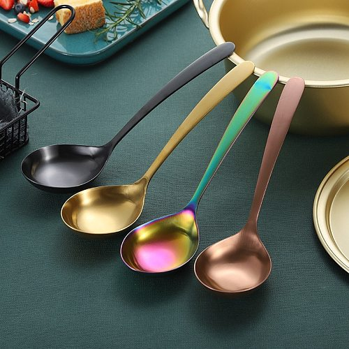 304 Stainless Steel Soup Spoon Thickened Table Spoon Gold/Rose Gold/Black/Rainbow Dinnerware Tableware Restaurant Supplies