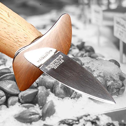 Steel Seafood scallop pry knife with wooden handle knives Sharp-edged Opener Shucker Knife BBQ Oyster Seafood Shell Oyster D5Q9