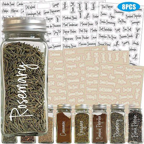 8pcs Reusable Spice Label For Pantry Mason Jars Printed Stickers Labels for wine bottle seasoning bottle sticker Pen Spice Jars