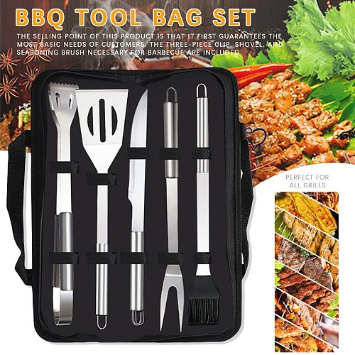 Barbecue Tool with Portable Bag BBQ Party Tools Camping Outdoor Cooking Tools Kit Grilling Utensil Accessories Stainless Steel