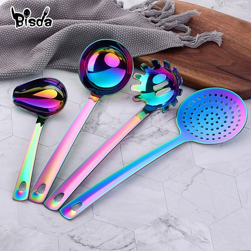 1pcs Stainless Steel Kitchen accessories Gold Cooking Tool Long Serving Sets Spoon Fork Turner Ladle Rainbow Spatulas Skimmer