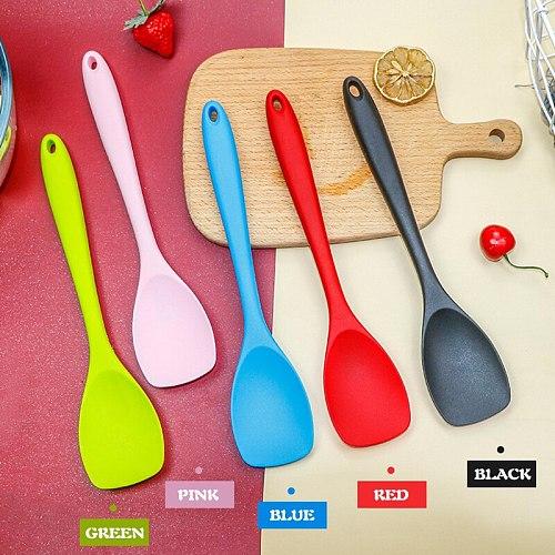 Heat Resistant Silicone Spoon Kitchen Spatula Frying Pan Shovel Mixing Scraper Bakeware Utensil Handle Scraper Cookware Tool
