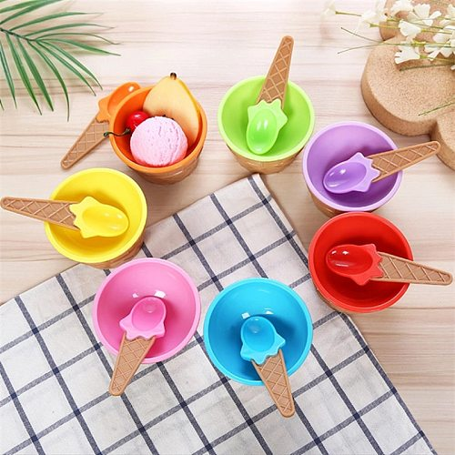 6Colors Reusable Lovely Ice Cream Bowl With A Spoon Wonderful Gift Children Dessert Bowls Ice Cream Cup Kitchen Tools Gadgets