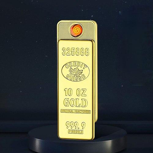 Heating Wire Lighter Gold Bar Lighter BRICS Creative USB Charging Cigarette Lighter  Tobacco Accessories Windproof Lighter