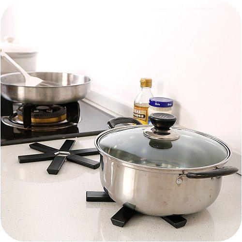 Black Foldable Non-slip Heat Resistant Pad Trivet Pan Pot Holder Mat Kitchen Placemat Pot Holder Mat Kitchen Cushion Accessories