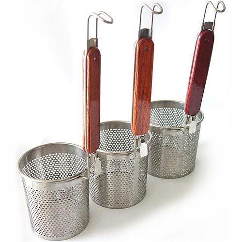75pcs 12 cm circular hole Stainless Steel Strainer Basket Wooden Handle Fine Mesh Spider Food Skimmer Kitchen kichen strainer
