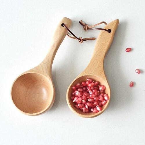 Japan style  Big Wooden Tablespoon Eco-Friendly Dumpling Rice Spoon Water Soup Scoop Tableware