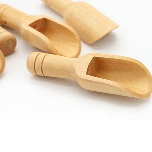 Wood Herb Powder Spoon Bath Shower Rice Spice Salts Mini Scoops Spoon Wooden Kitchen Cooking Baking Tools 3PCS