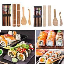 5Pcs/Set DIY Natural Wooden Sushi Onigiri Maker Mold Rice Roll Shaper Cooking Tools Kitchen Accessories