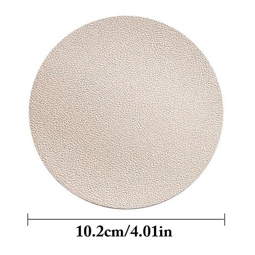 Faux Leather Placemat Tableware Pad Home Canteen Heat Proof Insulation Coaster Solid Color Round Drink Mat Trivet Mats Accessory