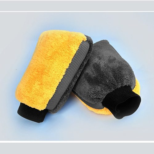 1pc Car Wash Glove Cleaning Glove Mesh Fabric Do Not Hurt Paint Waterproof Double-Sided Coral Fleece Large Housekeeping