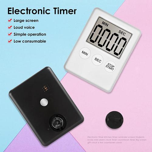 1pcs Kitchen Gadget Sets Super Thin LCD Digital Screen Kitchen Timer Square Cooking Count Up Countdown Alarm Magnet Clock