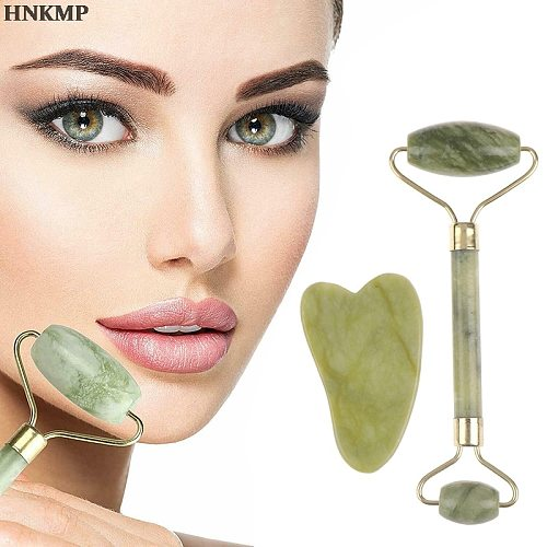 2 in 1 Green Roller and Gua Sha Tools Set by Natural Jade Scraper Massager Eye Face Neck Thin Lift Relax Slimming Tool