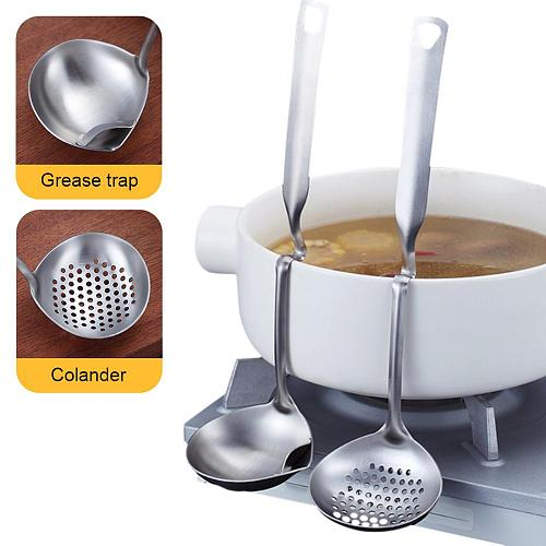 Stainless Steel Soup Scoop Colander Spoon Oil Filter Grease Separation Spoon Cooking Colander Tools Kitchen Accessories Gadgets