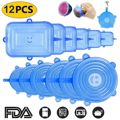 6/12 PCS Reusable Food Silicone Covers Wrap Stretch Lids Food Storage Lid Keeping Fresh Seal Bowl Kitchen Accessories