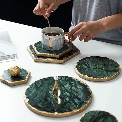 Luxury Non-slip Emerald Real Marble coaster mug place mat Green Stone with Gold Inlay Heat Resistant Trivet Table Decoration