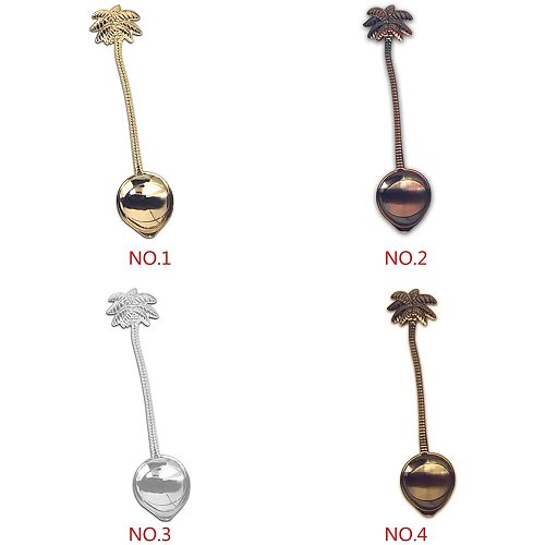 10cm Vintage Royal Style Coconut Tree Tea Coffee Spoon Ice Cream Small Decoration Zine Alloy Gift For Bar Party