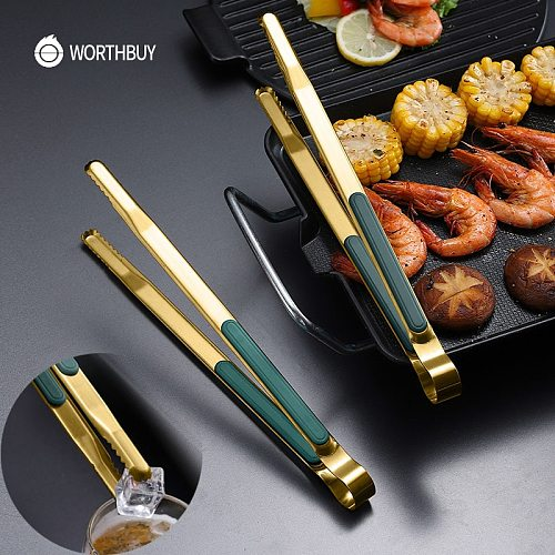 WORTHBUY Gold Stainless Steel Food Tongs Non-Slip Serving Tongs For BBQ Meat Salad Bread Kitchen Accessories Cooking Utensils