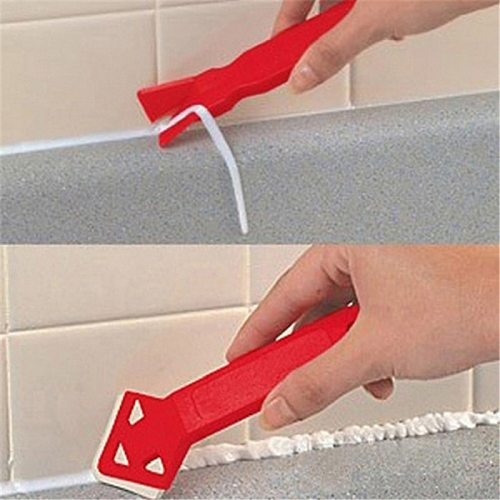 2pcs Red Scraper Caulking Mould Silicone Glass Sealant Remover Tool Home Angle Spatula Glue Shovel Kit Set Removal Useful Tool