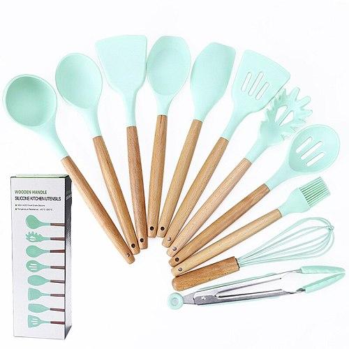 8 / 9 / 10 pcs silicone kitchenware set scraper eggbeater baking utensils non stick spatula wooden handle kitchen cooking tools
