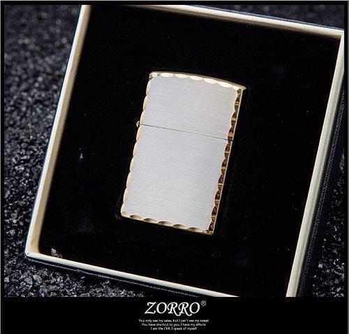Zorro kerosene lighter smooth plate drawing and edging metal windproof creative gift
