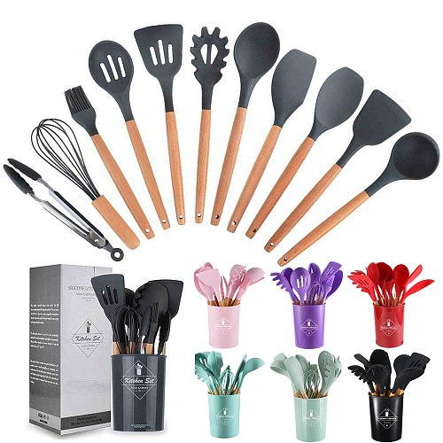 12pcs Set Nonstick Cooking Spoon Soup Ladle Turner Pancake Spatula Tong Cookware Colorful Silicone Wooden Kitchen Utensils Set