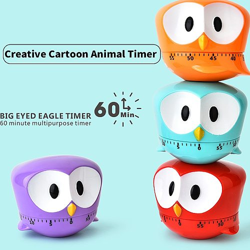 Cartoon Animal Owl Shape 60 Minute Timer Easy Operate Kitchen Timer Cooking Baking Helper Kitchen Tools Home Decor