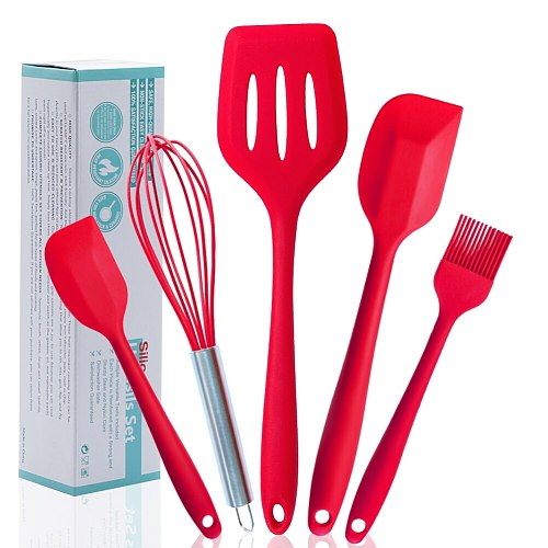 2020 5Pcs/Set Silicone Cooking Tool Sets Egg Beater Spoon Spatula Oil Brush Kitchenware Kitchen Utensils Sets For Kitchen Tool