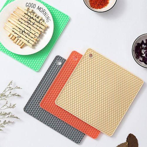 18cm Square Round Heat Resistant Silicone Trivet Mat Drink Cup Coasters Non-slip Pot Holder Table Placemat Kitchen Accessories