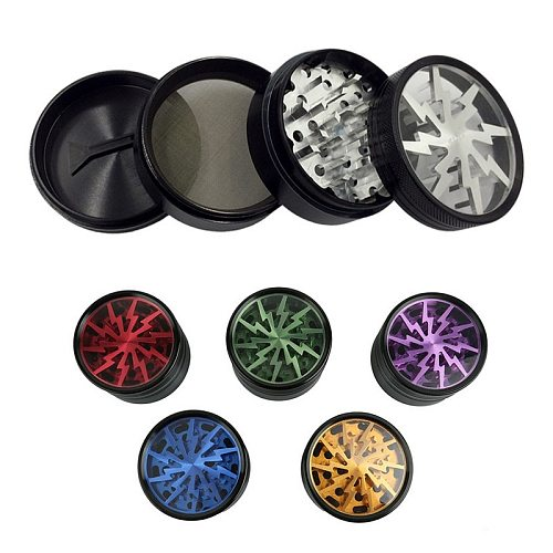 Lightning-shaped Weed Herb Grinders Tobacco Cigarette Crusher Shredder Dry Pipe And Accessories 63mm 4 Layers