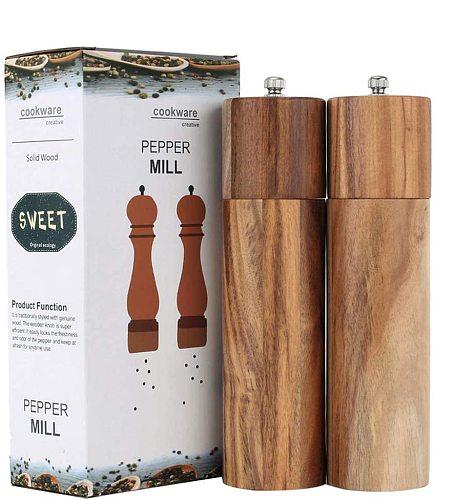 Wooden Salt and Pepper Grinder Set, Manual, Acacia Wood, 8  - Elegant Salt Grinder and Pepper Grinder Mill