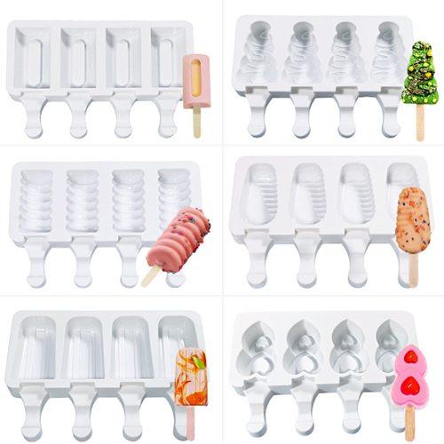 3D DIY Silicone Ice Cream Mold Popsicle Molds Handmade Mousse Dessert Freezer Juice Ice Cube Tray Barrel Maker Mould + 10 Sticks