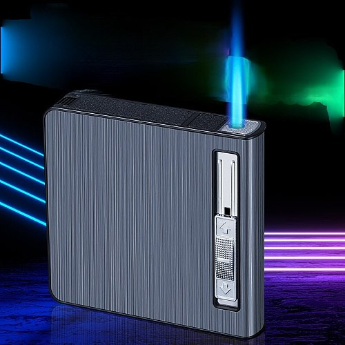 Cigarette Case Straight Into The Lighter 20 Whole Package Metal Creative Straight Into The Windproof Cigarette Case Lighter