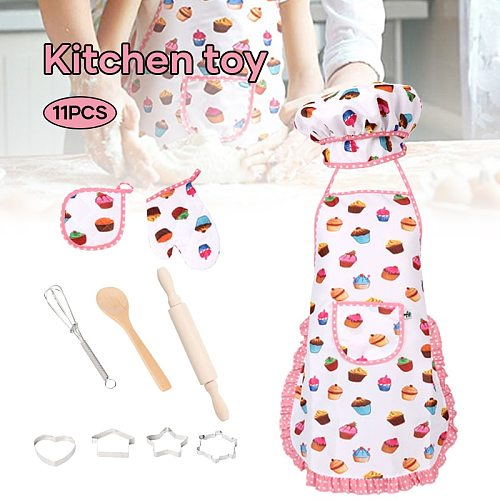 11pcs Mini Cooking Game Set Kids Chef Imitation Game Utensil Cookie Maker With Apron Hat For Birthday Party Kitchen Accessories