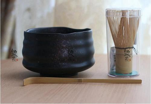 Japan Handmade Bator Matcha kit gift Maccha whisk bowl scoop black tea set scoop moderate Japanese green tea teaware tea ware