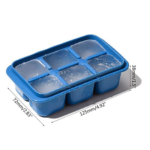3pcs Plastic Ice Cube Tray DIY Ices Jelly Maker Mold w/ Lid for Whisky Cocktaiy