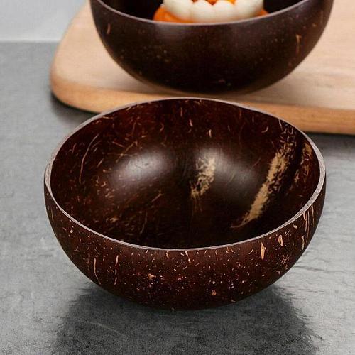 Natural log coconut shell Coconut Bowl Fruit Decoration Fruit Salad Noodle Bowl Wooden Rice Bowl Craft Decoration Creative