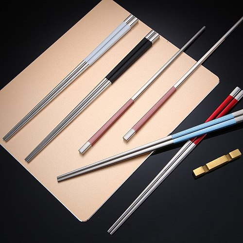 304 Stainless Steel Square Chopsticks Titanium Black Gold Sushi Hashi Colorful Chinese Japanese Chopsticks 1 Pair 23.5cm