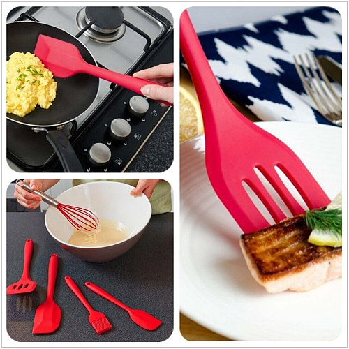FenKicyen Kitchen Utensils Sets Silicone Cooking Tools Accessories Scraper Oil Brush Eggs Beaters Whisk Spatula Ladle Non-Stick